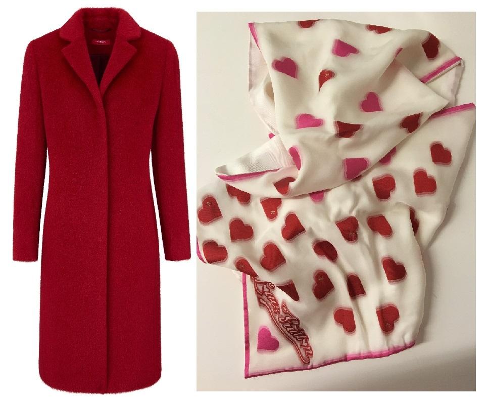 langer mantel rot vuitton herzschal valentinstag
