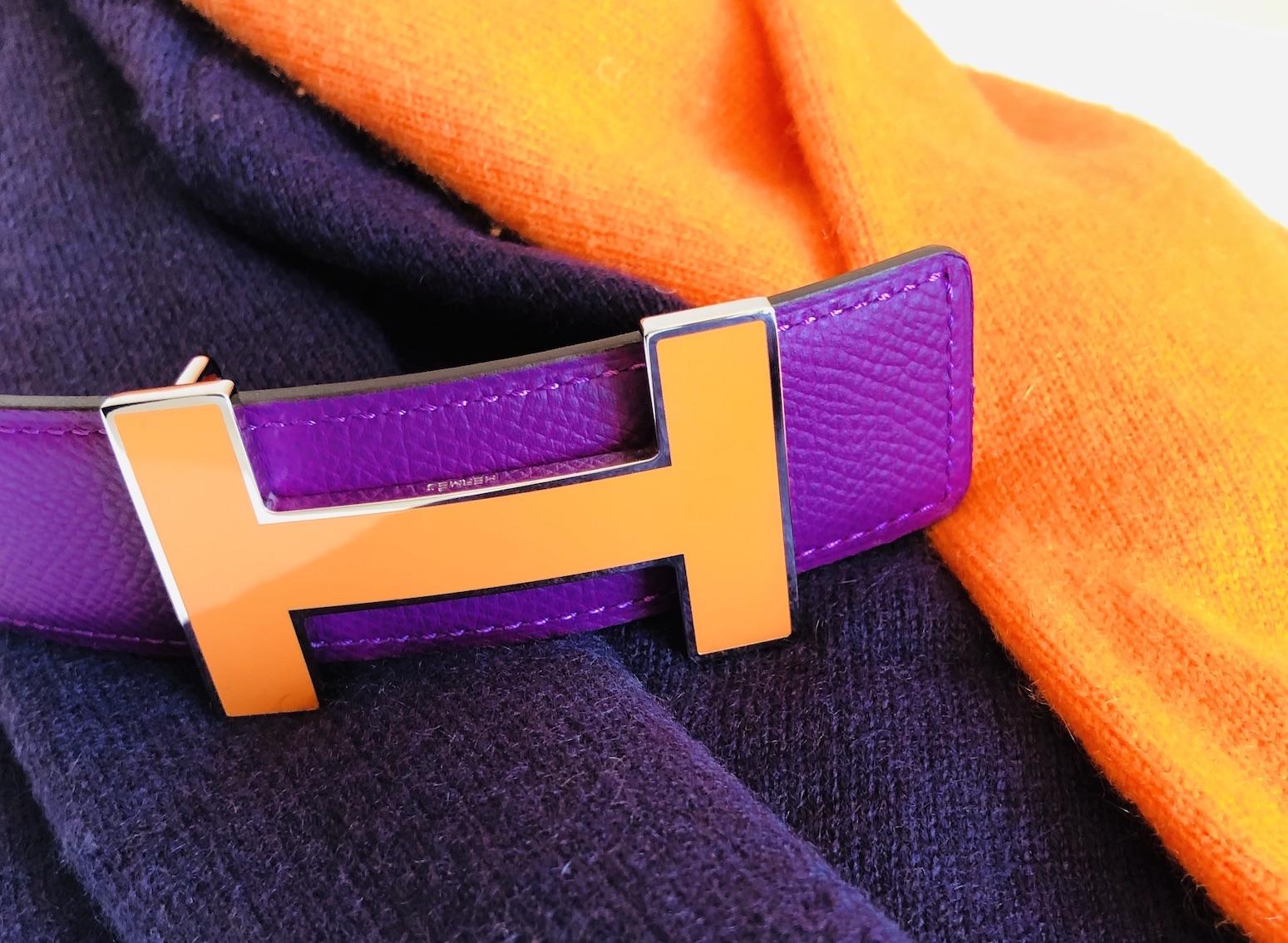 violett orange kaschmirpullover hermes guertel und h schliesse