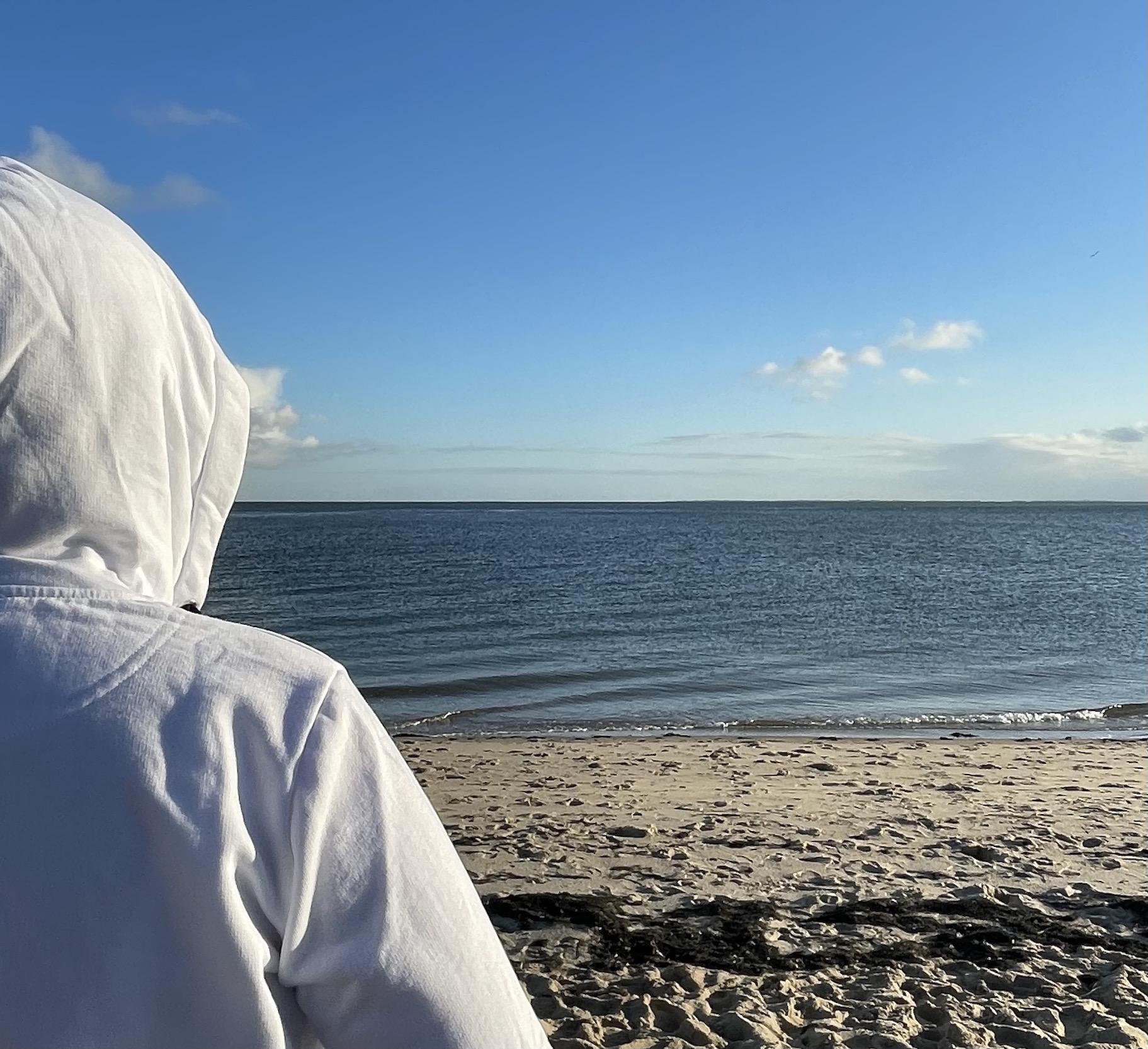 weiße kapuzenjacke, Nordsee, Sylt, Meerblick
